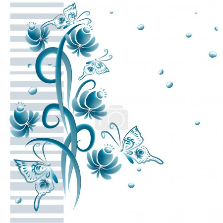Floral ornament in blue tones