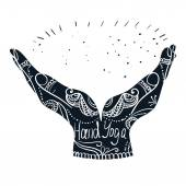 Mudra hands with mehndi patterns