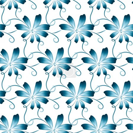 Illustration for Abstract vector floral seamless background, pattern with blue folk art flowers, blue white gzhel ornament. - Royalty Free Image