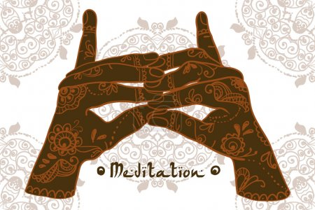 Illustration for Female yoga hands Element postcard - Royalty Free Image