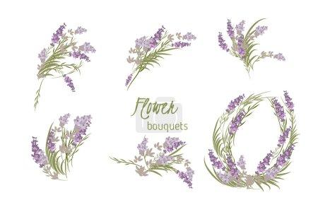 Illustration for Floral lavender retro vintage background. Flowers against white background - Royalty Free Image