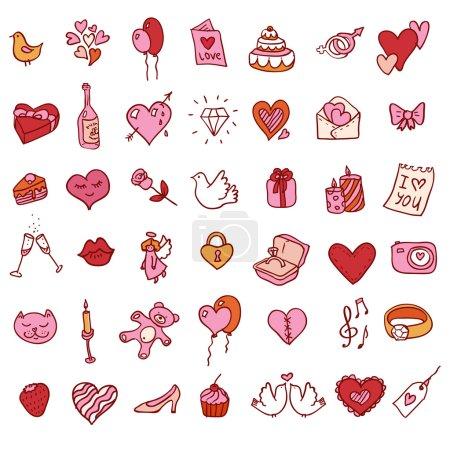 Photo pour I love you doodle icon set illustration isolée dessinée à la main - image libre de droit