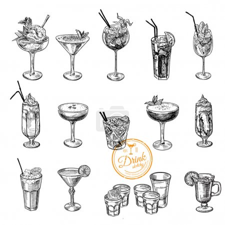 Photo for Hand drawn sketch set of alcoholic cocktails illustration - Royalty Free Image