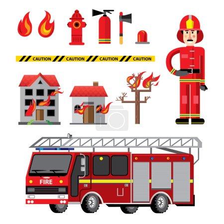Illustration pour Bannière de composition d'icônes plates de service d'incendie avec équipement d'installations et pompier tenant des conseils de sécurité illustration vectorielle abstraite - image libre de droit