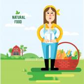 Vektorové ilustrace farmář a zeleniny