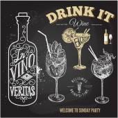 Hand drawn sketch set of alcoholic cocktails Vector illustration Chalkboard background