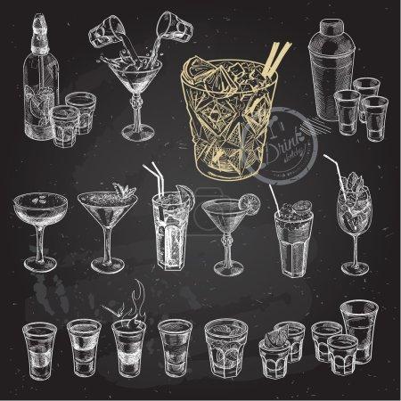 Illustration pour Esquisse dessinée à la main ensemble de cocktails alcoolisés. Illustration vectorielle. Arrière-plan tableau . - image libre de droit