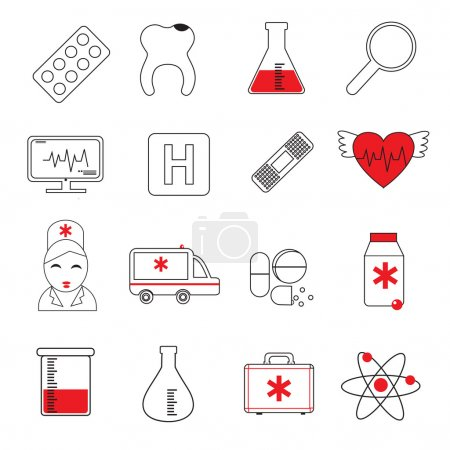 Illustration pour Ensemble d'icônes de ligne colorées de médecine. Illustration vectorielle - image libre de droit