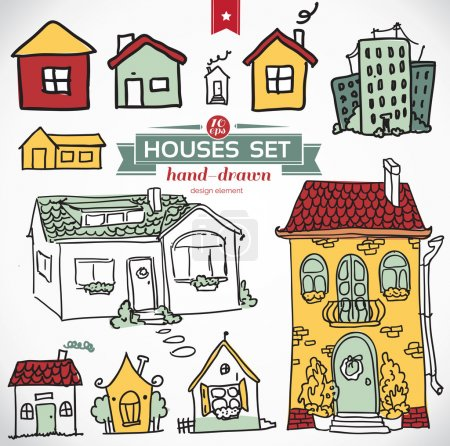 Illustration for Collection of home apartments. Sketch vector set of houses in doodle style - Royalty Free Image