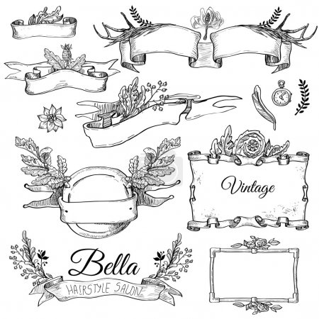 Illustration for Vector set of ornaments calligraphic design elements: page decoration, Premium Quality and Satisfaction Guarantee Label, antique and baroque frames and floral ornaments - Royalty Free Image