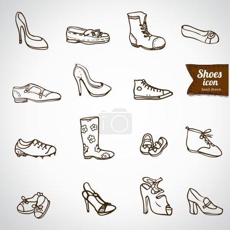Doodle shoes icon set