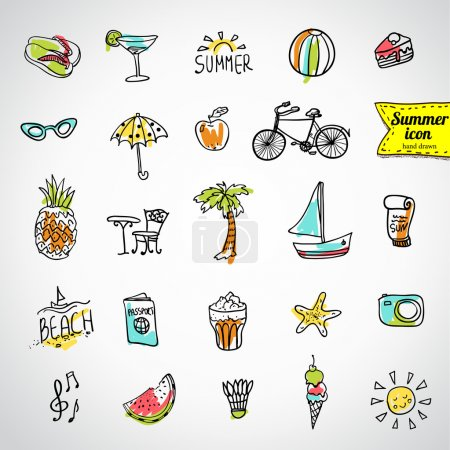 Illustration for Set of vector doodle summer icons - Royalty Free Image