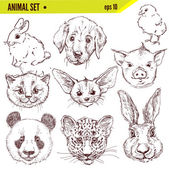 Set of hand drawn animals