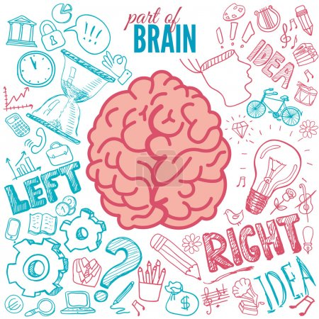 Illustration pour Fonctions cérébrales gauche et droite vecteur - image libre de droit