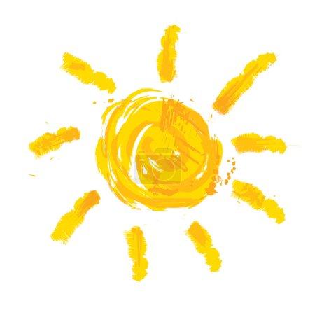 Watercolor sun, rays flat icon closeup silhouette