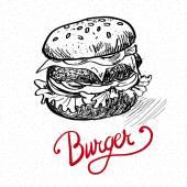 Delicious juicy burger Sketch illustration