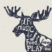 Lettering about music vintage vector illustration: If music be the food of love play on