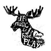 Lettering about music vintage vector illustration: