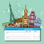 Airline ticket Travel background  All elements and textures are individual objects Vector illustration scale to any size