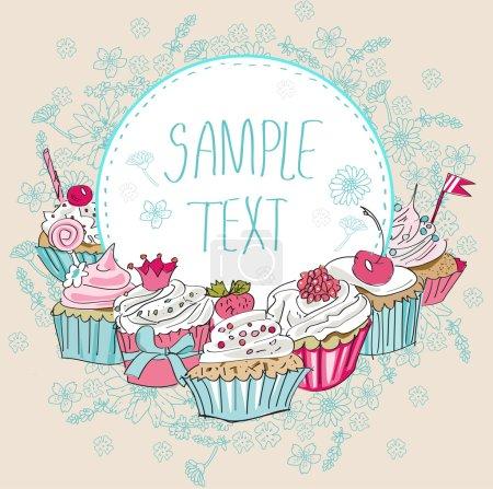 Illustration pour Carte vectorielle avec cupcake coloré. Illustration dessinée main - image libre de droit