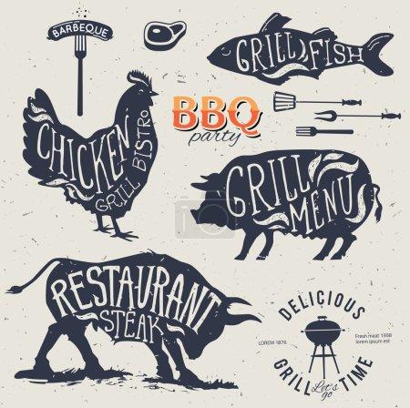 Illustration pour Illustration Grill Menu Étiquettes Set of in Flat Design Style eps10 - image libre de droit