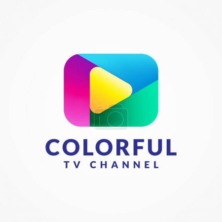 Illustration for Colorful Play Button Vector Illustration. Millennials, Gen Z TV Channel Logo Concept Isolated on White Background. Blue, Yellow, Green, Pink, Magenta Purple Color Gradient. - Royalty Free Image