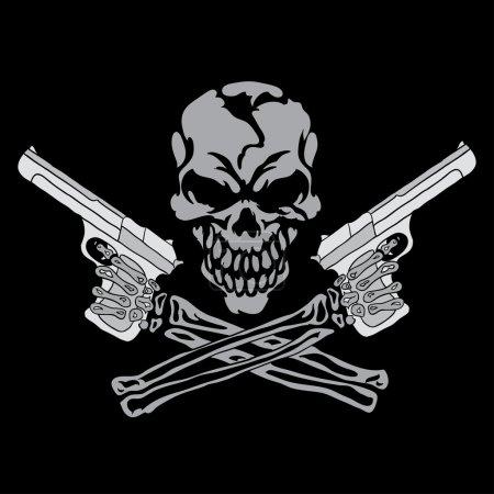Smiling skull with guns