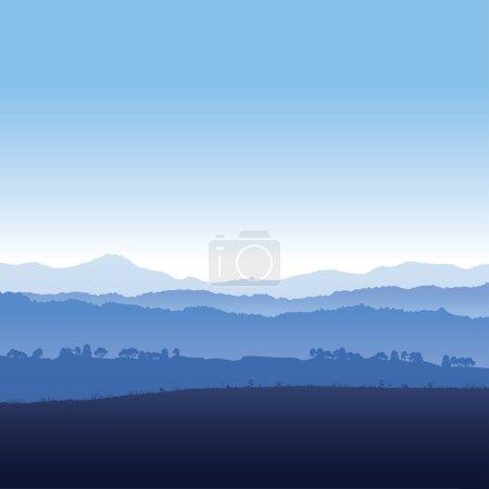 Illustration pour Illustration vectorielle paysage de montagnes dans le brouillard - image libre de droit
