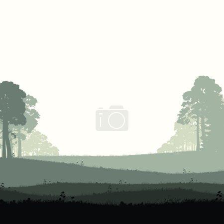 Illustration pour Panorama de la forêt de conifères sauvages - image libre de droit