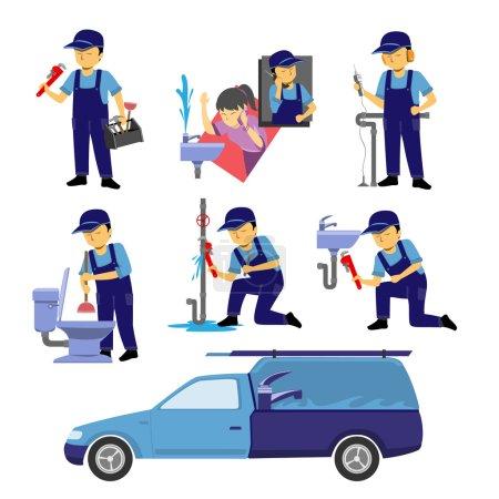 Illustration pour Plusieurs actions de plombier définies . - image libre de droit