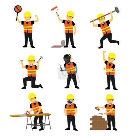 Illustration pour Ensemble homme de construction multiple . - image libre de droit