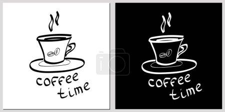 Photo pour Illustration vectorielle dessinée à la main avec tasse à café et lettrage, ensemble de tasse à café sur fond blanc et manquant - image libre de droit