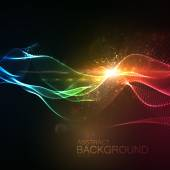 3D illuminated abstract digital wave of glowing particles and Flare lens light effect Futuristic vector illustration of particles Technology concept of radio or sound wave Abstract background