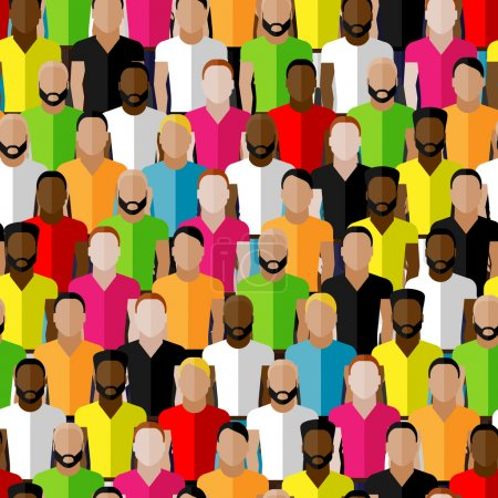 Illustration pour Modèle vectoriel sans couture avec la foule des hommes. illustration plate de la communauté masculine - image libre de droit