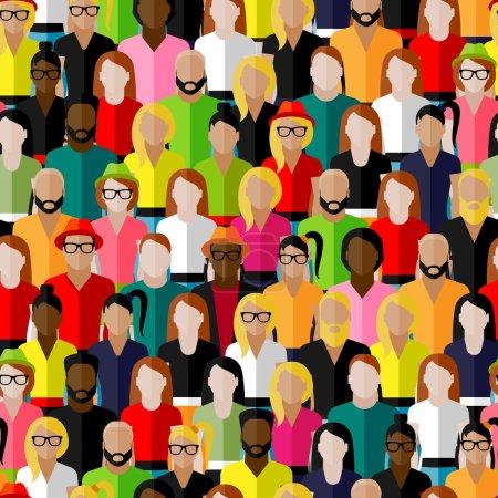 Illustration pour Modèle sans couture vectoriel avec un grand groupe d'hommes et de femmes - image libre de droit
