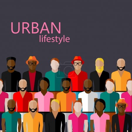 Illustration pour Illustration vectorielle plate de la communauté masculine avec un grand groupe de gars et d'hommes - image libre de droit