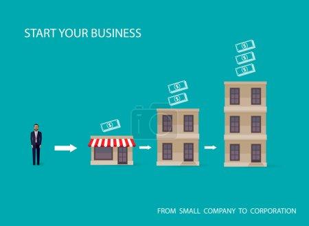 Illustration pour Les hommes d'affaires démarrent leur propre entreprise. concept de démarrage - image libre de droit