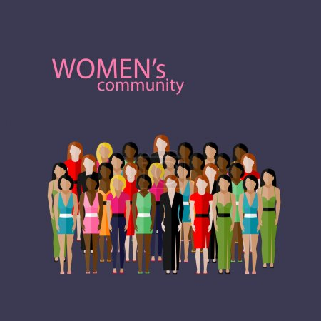Vector flat illustration of women community with a...