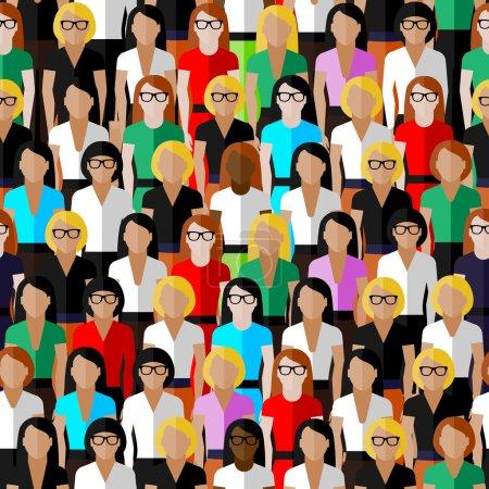 Illustration pour Grand groupe de bien-robes dames. illustration plate de la communauté d'affaires ou politique . - image libre de droit