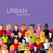 Vector flat  illustration of female community with...