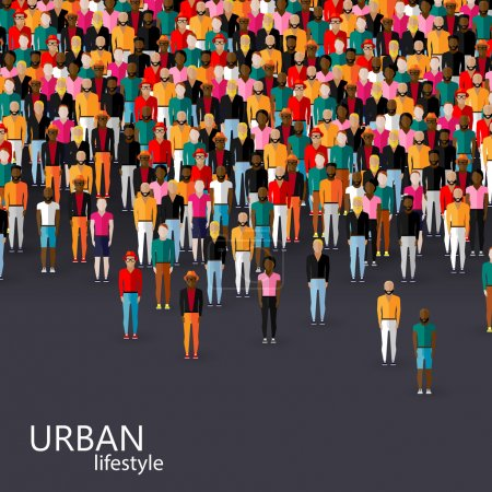 Illustration pour Communauté masculine avec une foule de gars et d'hommes. concept de style de vie urbain - image libre de droit