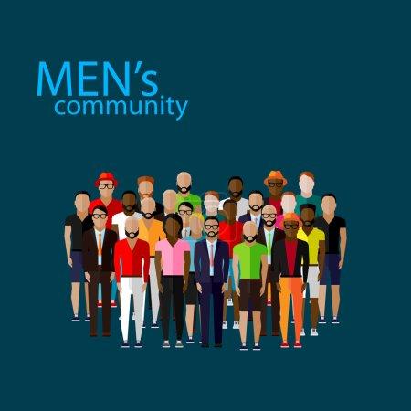 Illustration pour Communauté masculine avec un grand groupe de gars et d'hommes. concept de style de vie urbain - image libre de droit