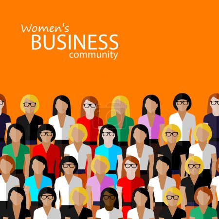 Vector flat  illustration of women business community. a large group of women (business women or politicians)