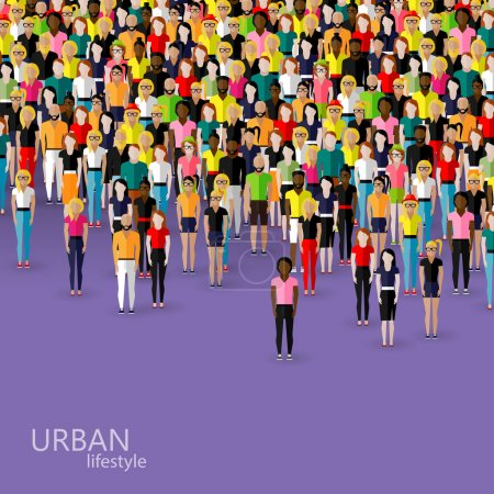 Crowd of men and women. population. urban lifestyl...