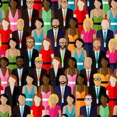 Large group of men and women flat  illustration of society members