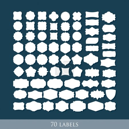 Illustration for Vector set of 70 retro label shapes for design - Royalty Free Image