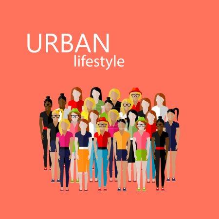 Illustration pour Illustration vectorielle plate de la communauté féminine avec un grand groupe de filles et de femmes. concept de style de vie urbain - image libre de droit