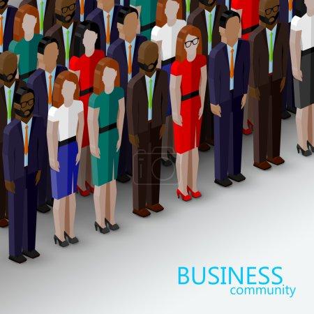 Illustration pour Grand groupe d'hommes et de femmes bien habillés. sommet ou conférence image de famille - image libre de droit