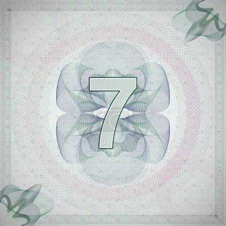 Number 7 (seven) in guilloche ornate style