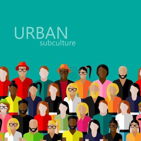 Illustration pour Illustration vectorielle plate des membres de la société avec un grand groupe d'hommes et de femmes - image libre de droit